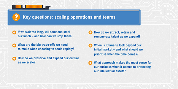 Key questions: scaling operations and teams